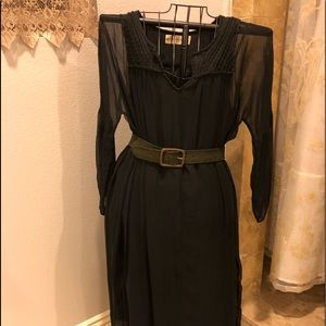 Graham and Spencer black chiffon and satin dress